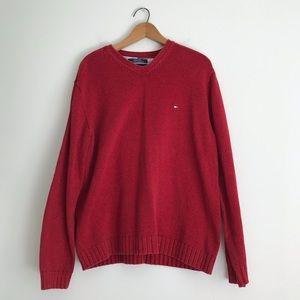 Men's Tommy Hilfiger Red V-neck Sweater Large